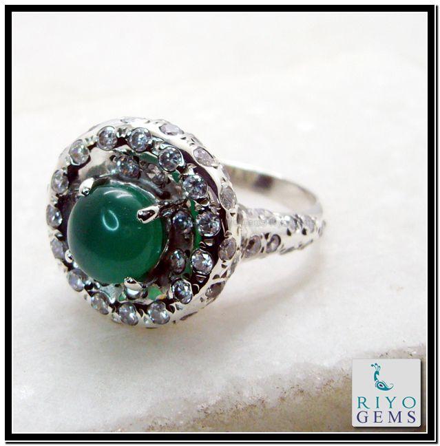 Green Onyx Silver Ring by Riyo Gems www.riyogems.com