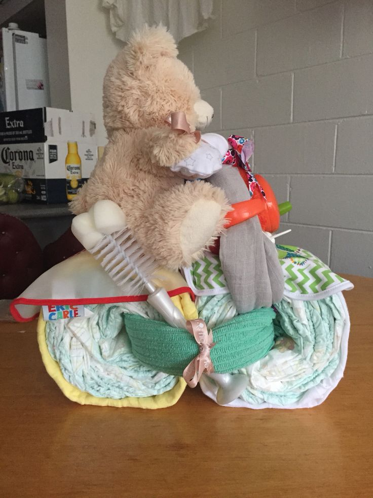 Teddy on a bike nappy cake
