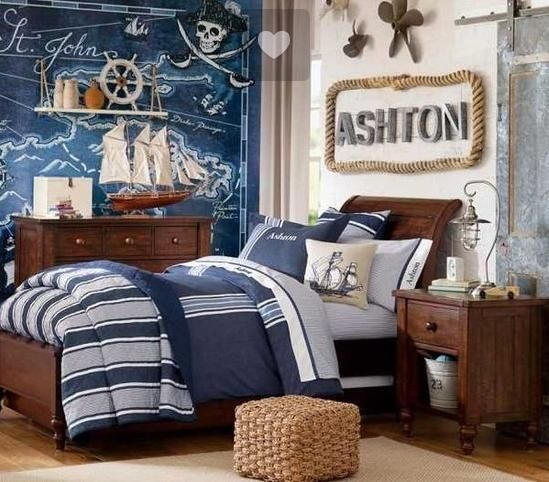 Nautical boys room ideas.  Rope around his name.