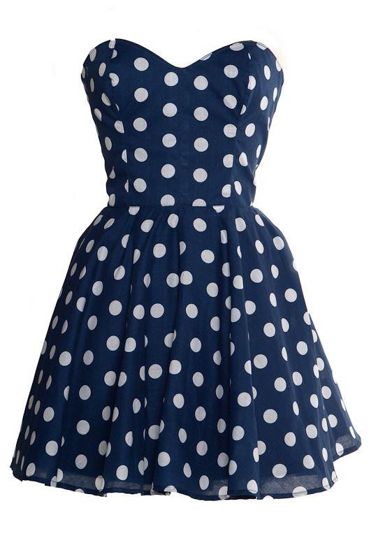 Pin up style dresses: Fashion, Style, Dream Closet, Dresses, Polyvore, Polkadots, Blue Polka Dots