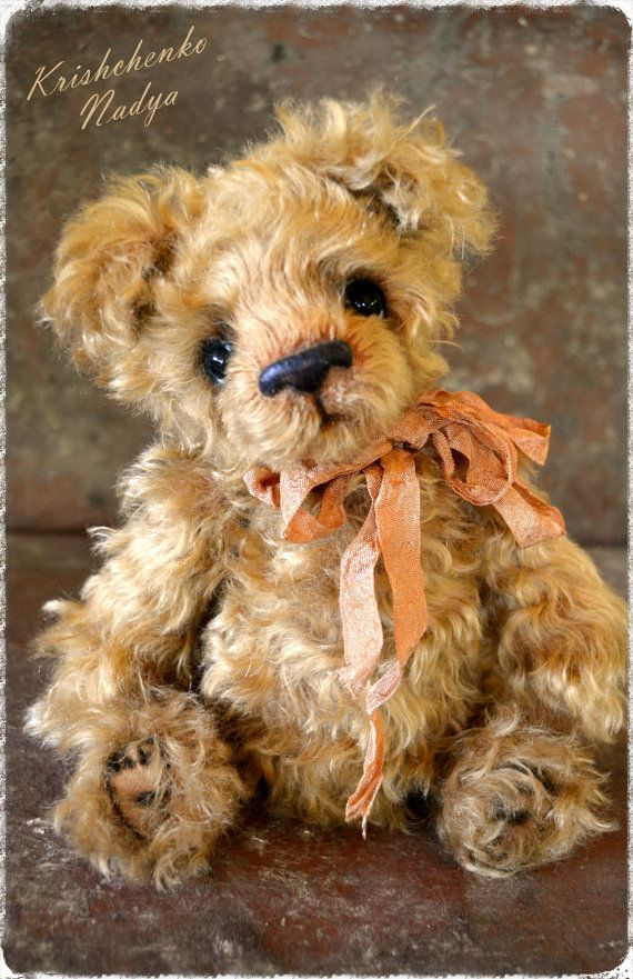 Teddy Bear-Art teddy-OOAK-Mohair Teddy by NadyaBears on Etsy