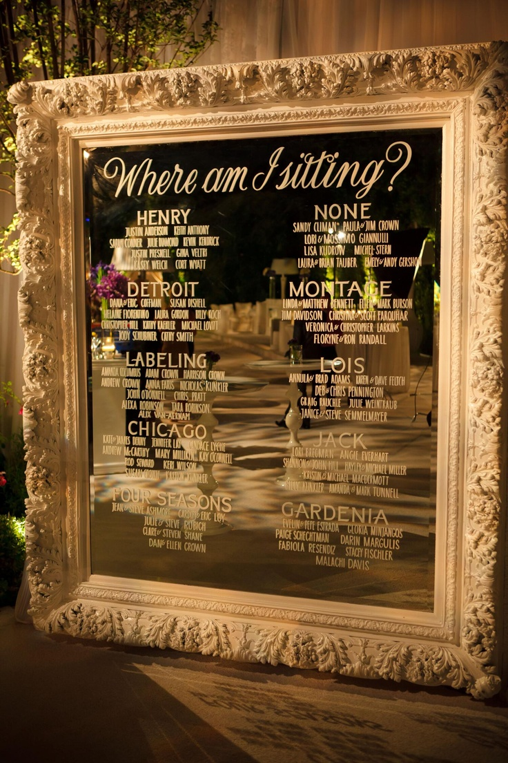 Etched glass seating chart on mirror...classy  Is this what you were thinking? I think its awesome but would be even better if it was way bigger. Love the idea of naming the tables?!