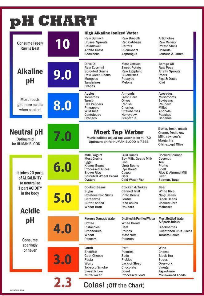 Ph Chart. Cancer patients all have too acidic ph levels