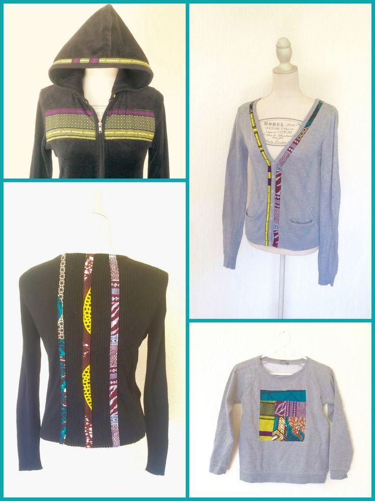 Upcycling - Veste ruban motif africain, noire à capuche