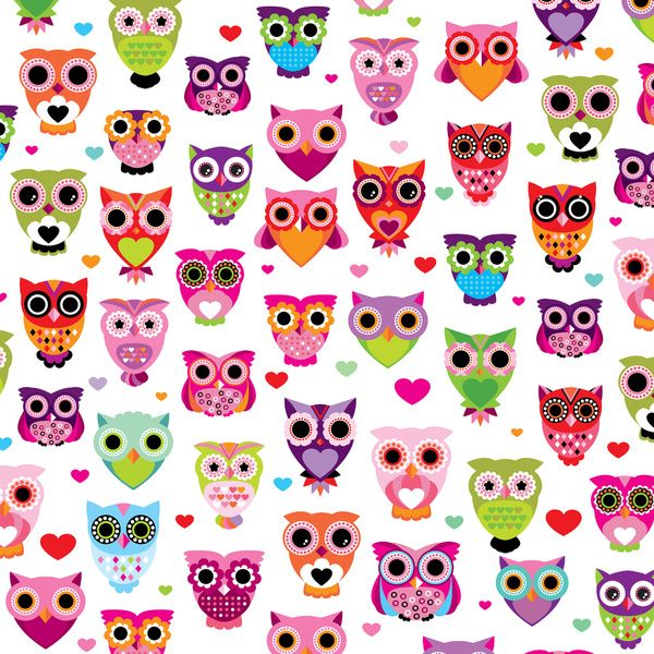 cute colorful retro style owl illustration pattern retro