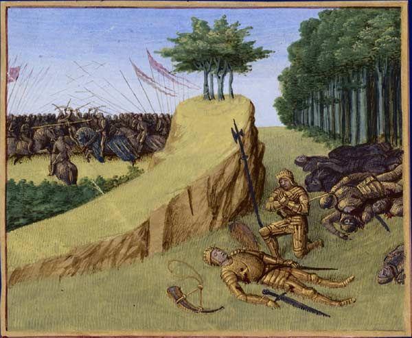 Bataille de Roncevaux en 778. Mort de Roland Grandes Chroniques de France, enluminées par Jean Fouquet, Tours, vers 1455-1460 Paris,