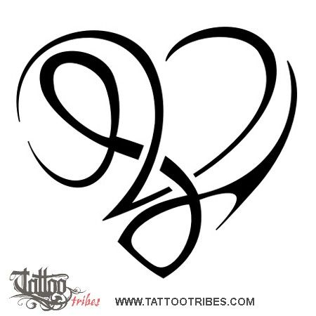 TATTOO TRIBES - Shape your dreams, Tattoos and their meaning - heartigram, letters, v+l, lettering, union, love, affection, bond, parents