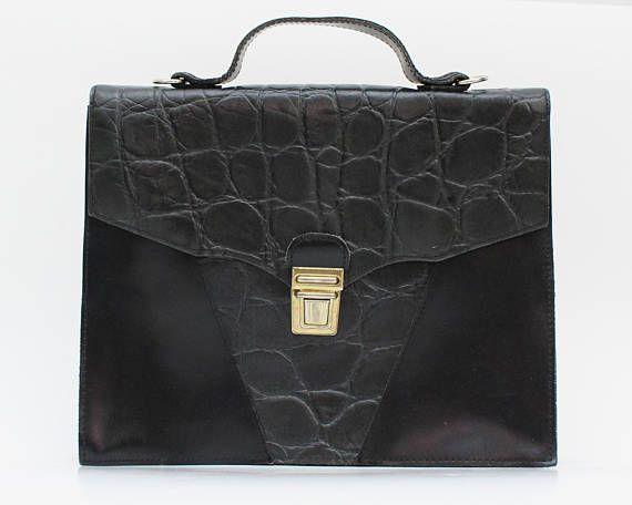 Black Leather Briefcase Purse  Vintage 1970s Reptile Skin