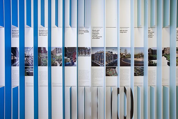 Luke Hayman and his team continue their work for active design with the graphics for FitNation, an exhibition at the Center for Architecture that looks at different ways built environments can help people stay physically fit.