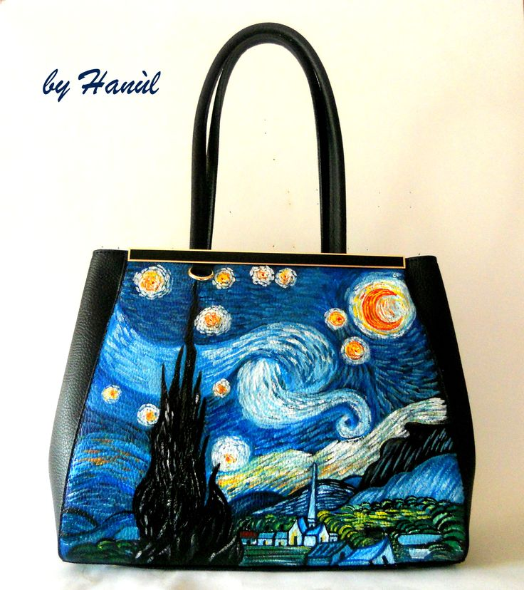 51 best images about borse di pelle dipinte a mano on for Dipinto di van gogh notte stellata
