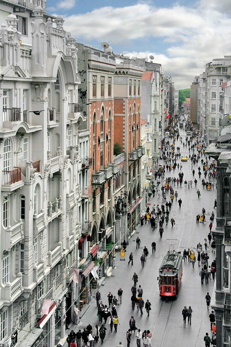 Istiklal Avenue (Istanbul, Turkey). 'In İstanbul, you can board a commuter ferry to flit between continents and be rewarded at sunset with the city's most magical sight, when the tapering minarets of the Old City are thrown into relief against a dusky pink sky. Elsewhere, history resonates with profound force amid the Ottoman and Byzantine glories of the Blue Mosque, Aya Sofya and Topkapı Palace.'  http://www.lonelyplanet.com/turkey/istanbul