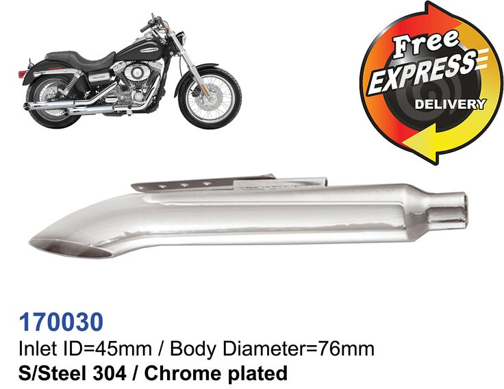 Universal motorcycle muffler side curved for Chopper S/steel chrome plated