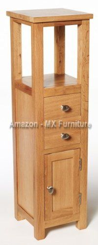 New Natural Solid Oak Slim Small Compact Bathroom Console Hall ...