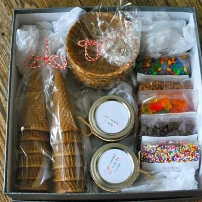 "Family gift idea with a tag that says ""just add ice cream""  This would be a fun neighbor or friend gift."