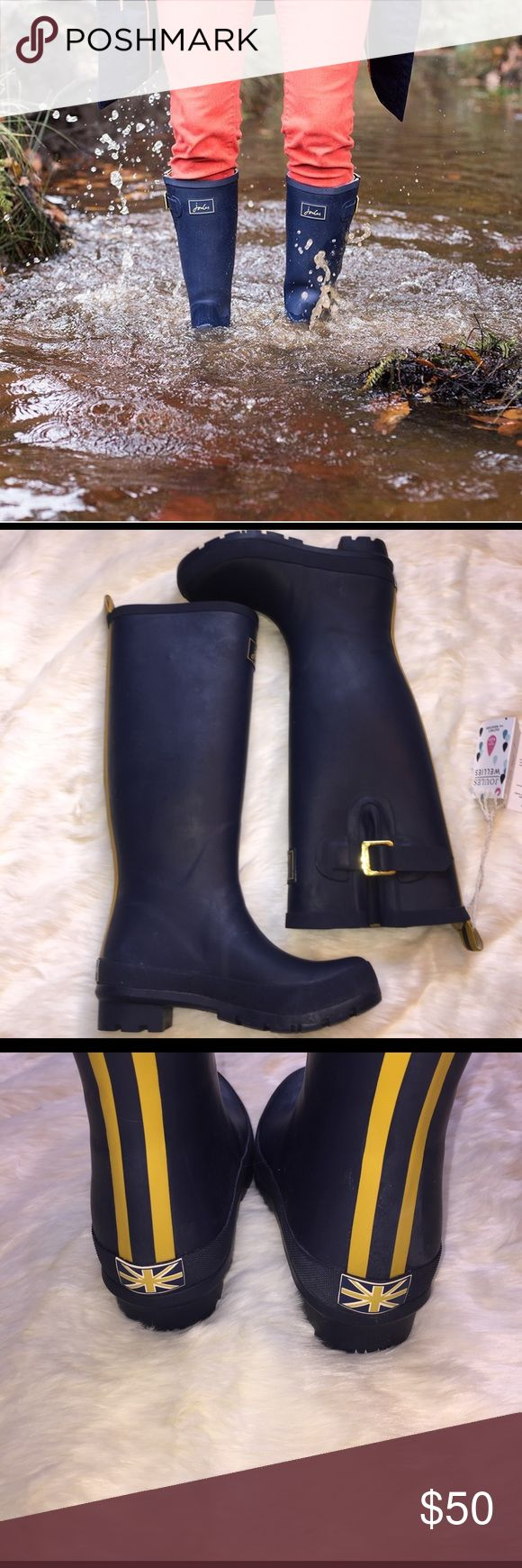 Joules Wellies Rain Boots NWT boots. Cute yellow stripes down the back. These boots are prefect for this spring and are covered by a 1 year manufacture warranty! Joules Shoes Winter & Rain Boots