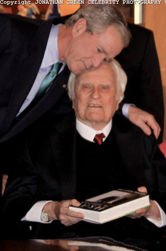 "Rev. Billy Graham.  Seen here with President George W Bush.  ""Self-centered indulgence, pride and a lack of shame over sin are now emblems of the American lifestyle."" Billy Graham"