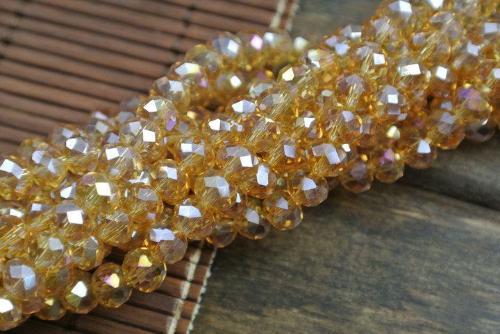 Цвет шампанского цвет граненные стекло бусины 4 х 6 мм ювелирные изделия делает прядь бусины 20 пк / много
