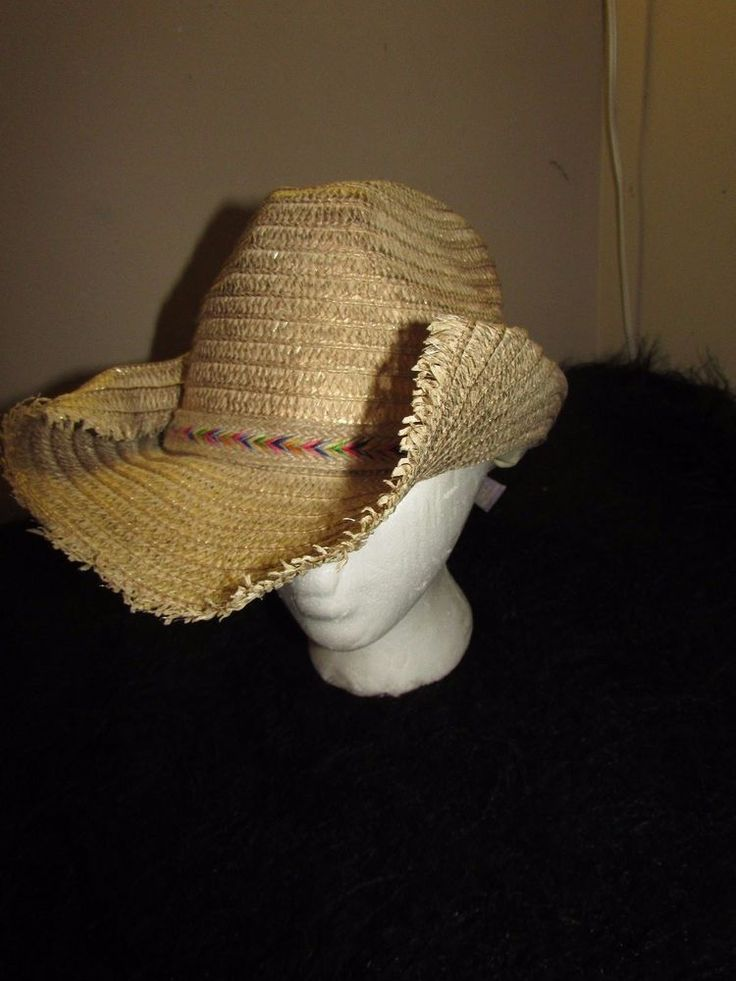 new tan straw style cowboy hat 1 size fashion Country Western multi colored band #claires #CowboyWestern #casual