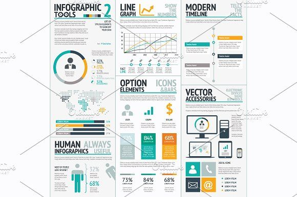 Infographic tools 2 big vector set by Infographic Template Shop on @creativemarket