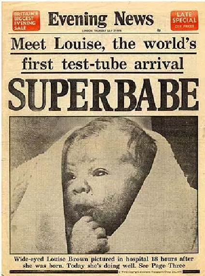Newspaper after the birth of the world's first 'Test-Tube Baby', Louise Brown. July 25th, 1978