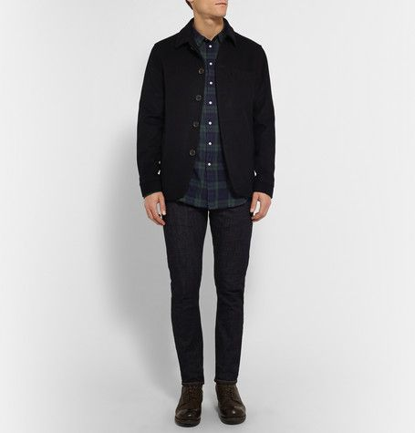 Officine Generale - Black Watch Checked Cotton-Blend Twill Shirt