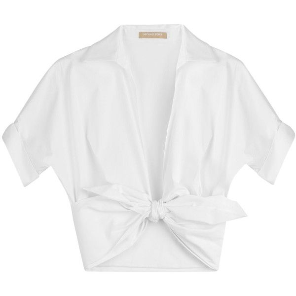 Michael Kors Short Sleeve Poplin Wrap Top ($605) ❤ liked on Polyvore featuring tops, crop top, shirts, white, white crop shirt, white wrap top, michael kors, white shirt and white top