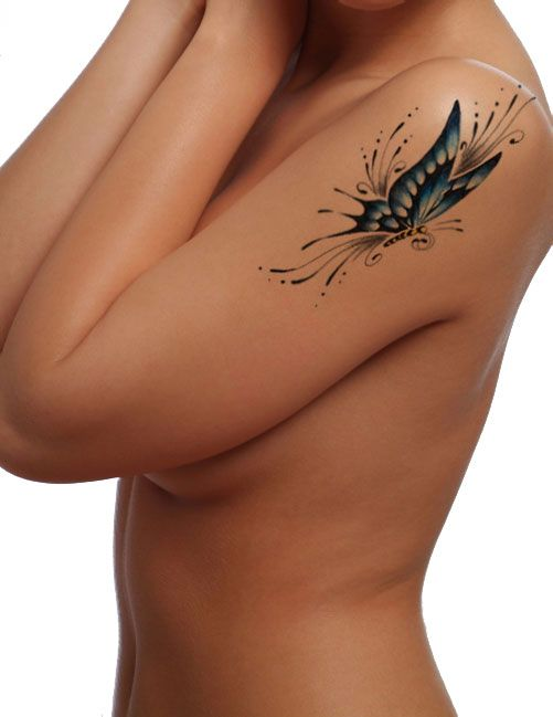 "Search image results for ""womens flower butterfly tattoo shoulder"""