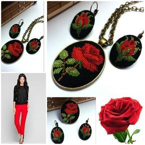 Cross stitch necklace and earrings embroidered pendant and