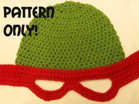 Crocheting: Teenage Mutant Ninja Turtles Crochet Hat   I must make this for Tyler
