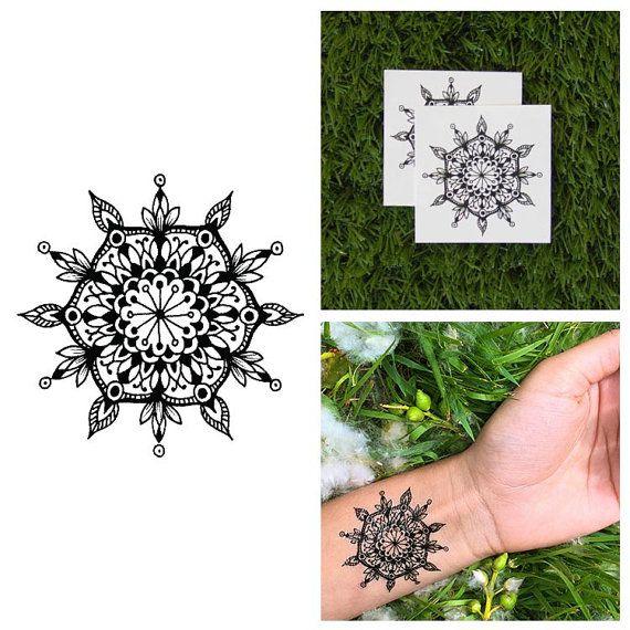 Tatuaje temporal detallada Mandala  esencia juego de 2 por Tattify