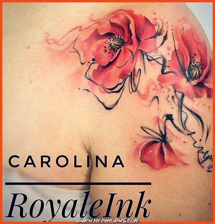 Aquarell Tatowierung Aquarell Mohnblumen Tatowierung Carolina Avalle Mohnblumen Tattoo Tatowierungen Bein Tatowierungen