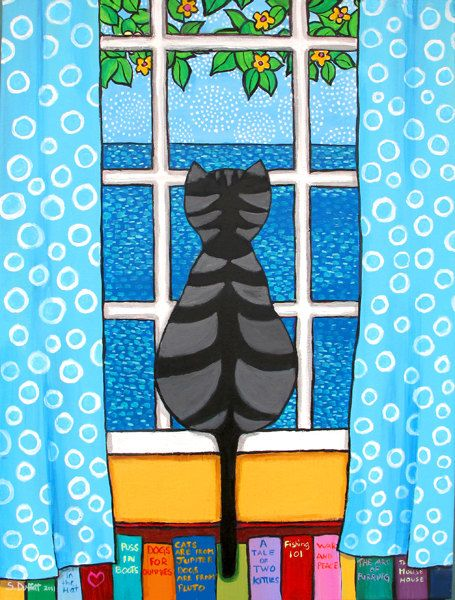 Silvia, Tabby Cat in Window with Books, Print. $20.00, via Etsy.