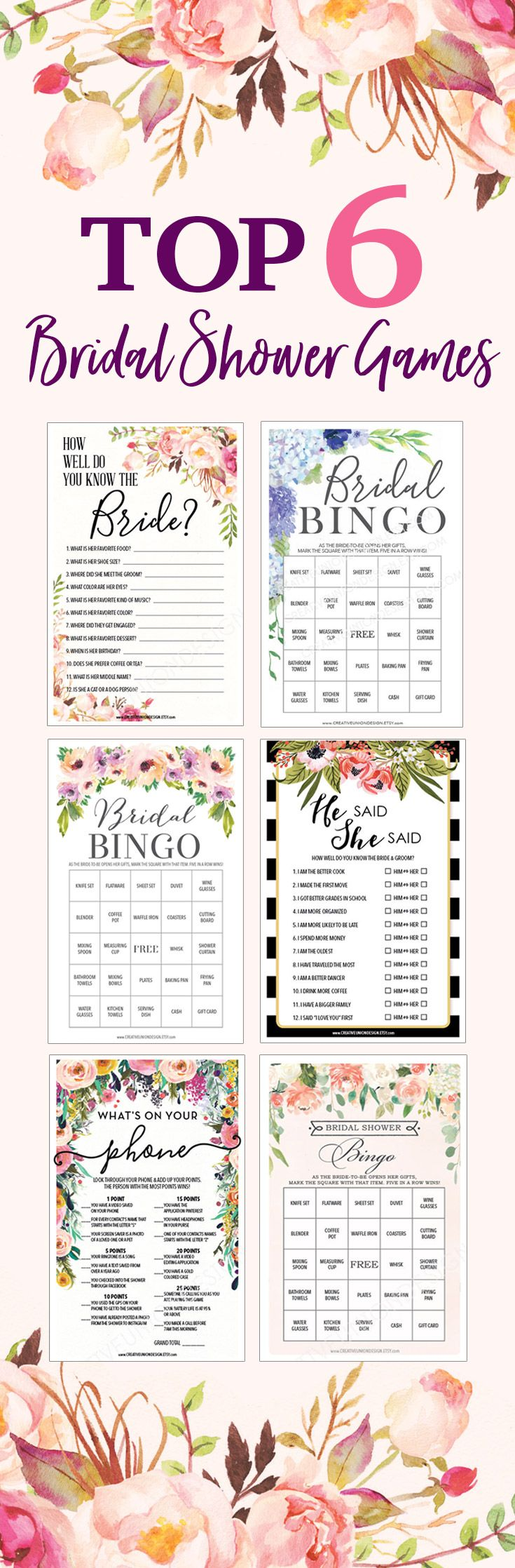 Looking for fun Bridal Shower ideas? Here are six of our most popular Bridal Shower Games that you can easily download, print & cut out in minutes. So fast and easy and will be a huge hit with friends & family at your shower! #bridalshowerideas #bridalshowergames