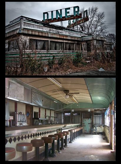 Abandoned diner though it looks awfully clean inside for something that is abandoned.
