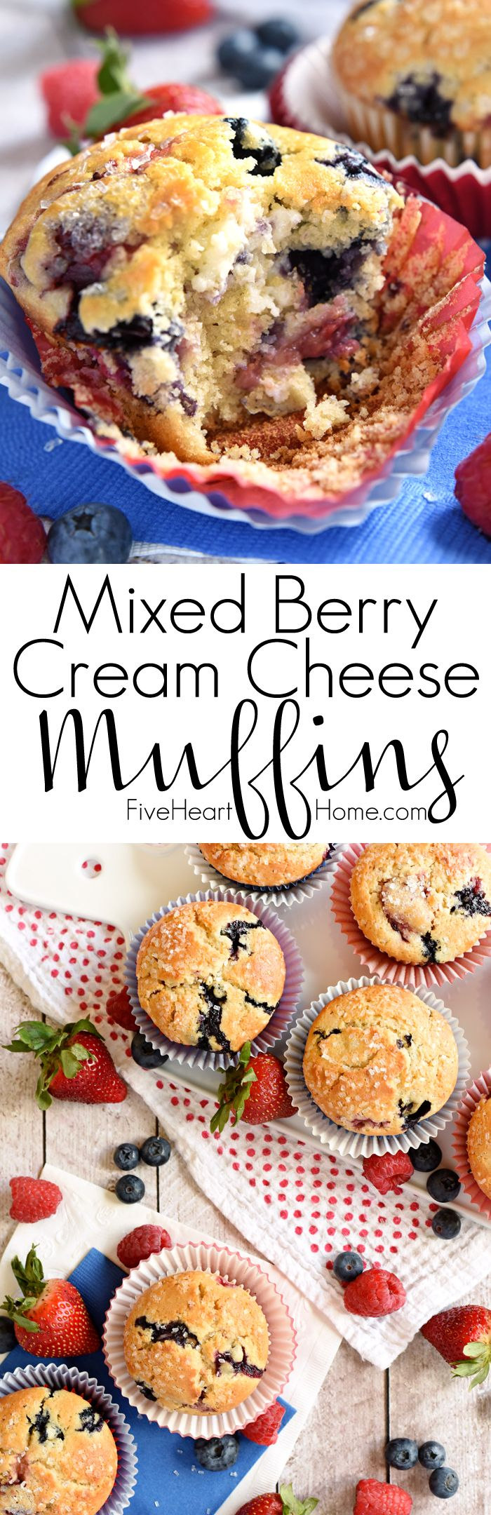 Mixed Berry Cream Cheese Muffins ~ bursting with fresh strawberries, blueberries, and raspberries…as well as a surprise swirl of cream cheese filling! | FiveHeartHome.com
