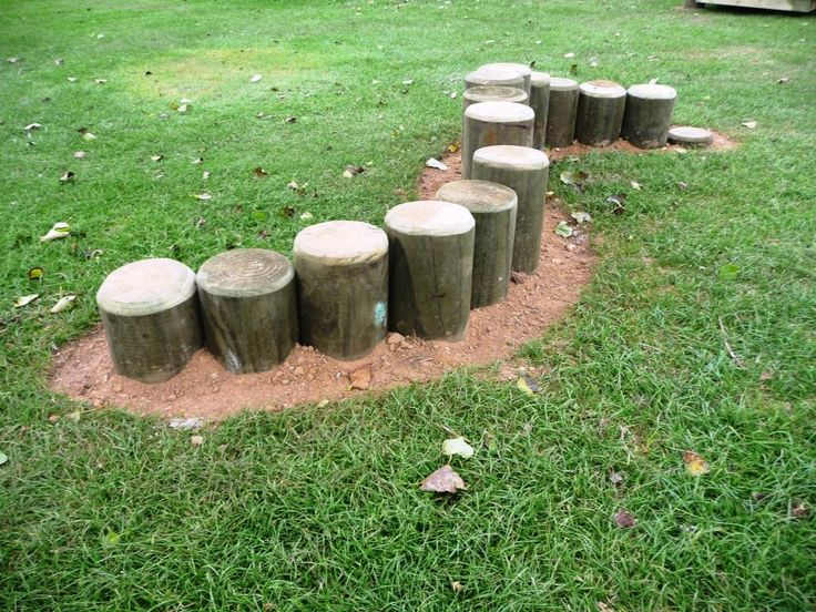 If had lots of stumps a could do this, otherwise just three or four and space put a little can be used for balancing or table and chairs