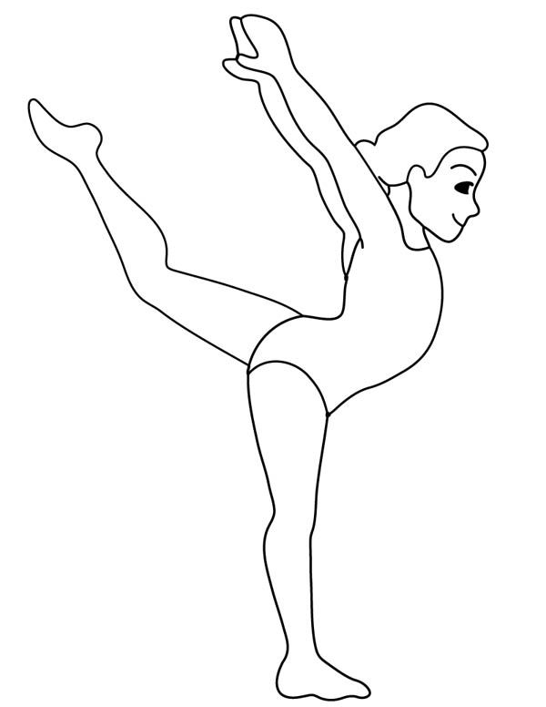 Colouring Pages Gymnastics : Gymnastic woman coloring page