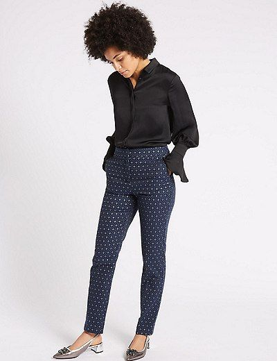 Metallic Jacquard Slim Leg Trousers | Marks & Spencer London