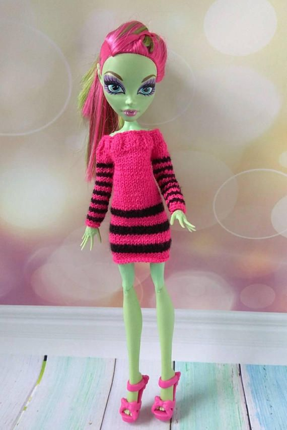 Bright pink dress Hand-knitted doll clothes for Monster High girls #monsterhigh #monsterhighdoll #monsterhighclothes #mhdolls #monsterhighooak #monsterhighcollection