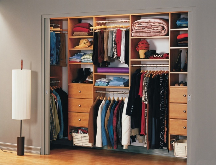 Perfect Reach In Closet, Classic System In Rustic Cherry Bedroom A Classic Reach In  Closet