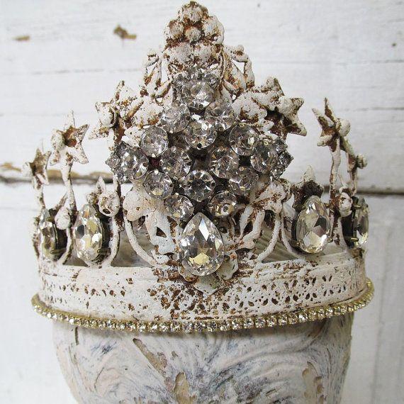 Metal crown decor painted white distressed ornate shabby cottage chic rhinestone Santos tiara statue embellishment decor anita spero design