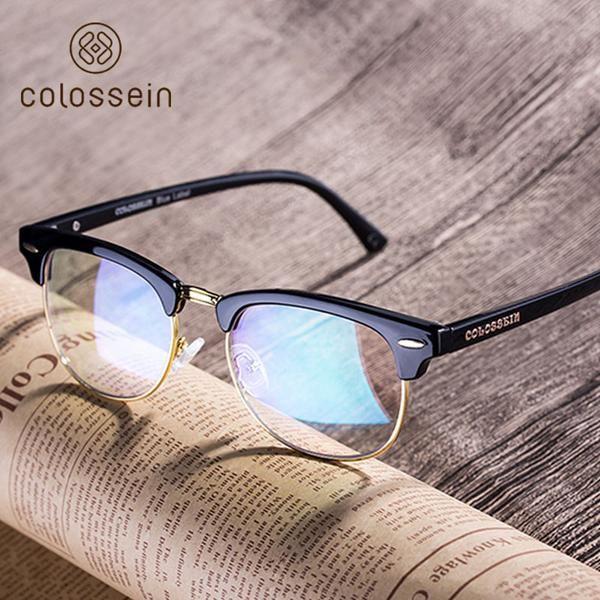 COLOSSEIN Classic Eyewear Frame Summer Vintage Half Frame Clear Lens Glasses Women Fashion Korean Style gafas de sol mujer