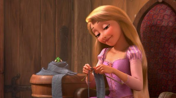 Rapunzel from the Disney movie 'Tangled'  knitting! ...I've always loved Rapunzel.