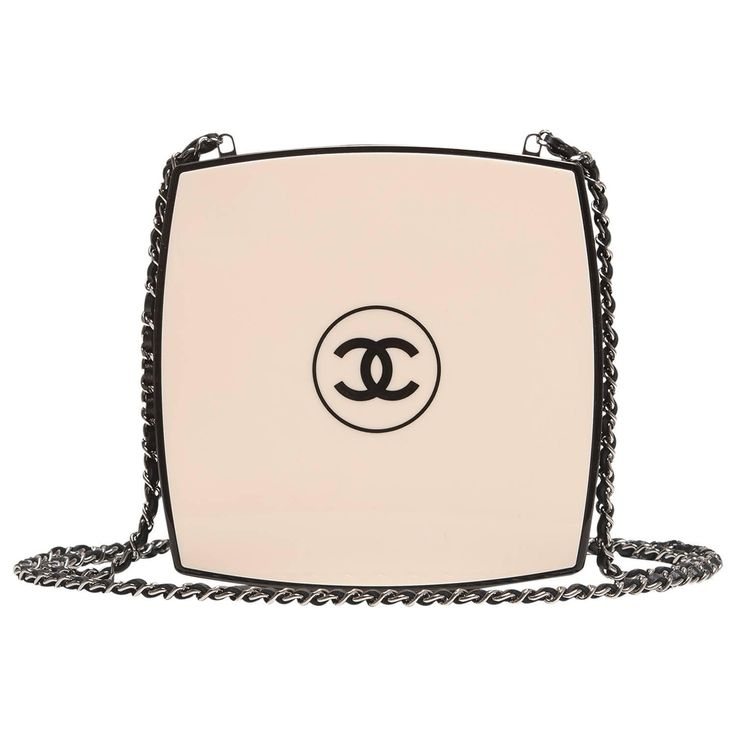 Chanel White Compact Powder Minaudiere | From a collection of rare vintage evening bags and minaudières at https://www.1stdibs.com/fashion/handbags-purses-bags/evening-bags-minaudieres/