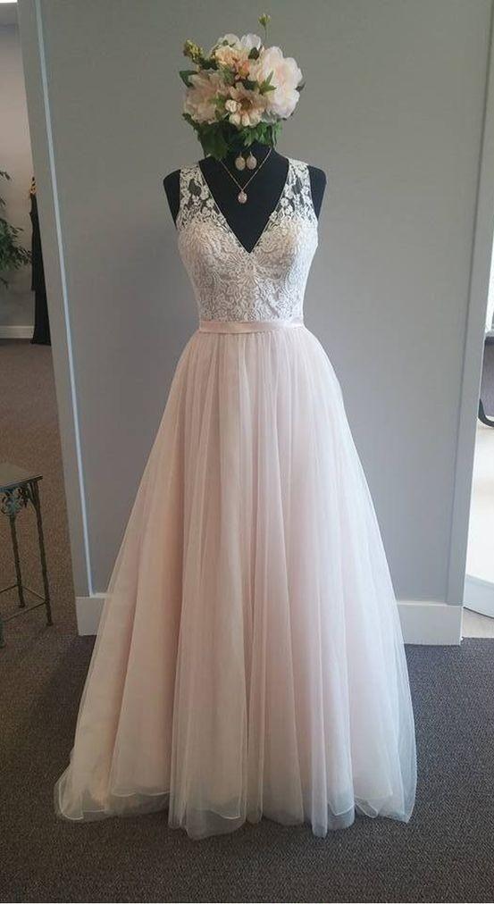 A line V-neck Blush Wedding Dress