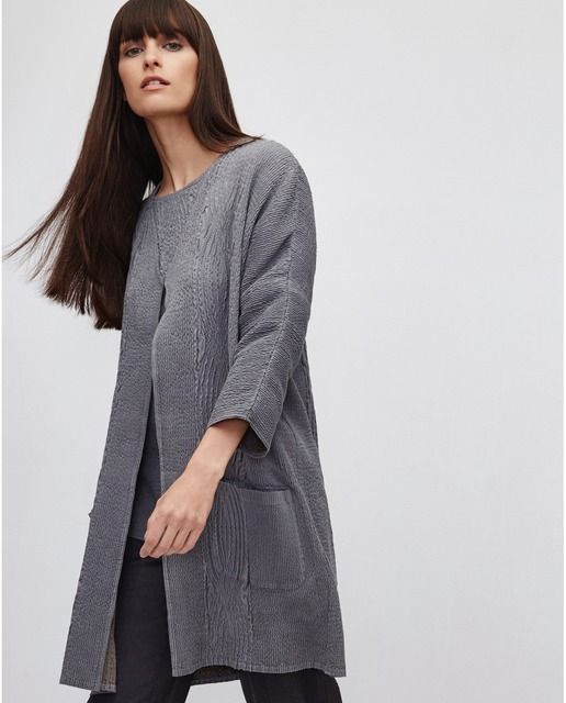 Long grey cardigan | Simple grey open front cardigan | Minimalist casual wear | Capsule wardrobe | Slow fashion | Simple style | Minimalist style | Stylish business casual | Scandinavian casual wear | Stylish work outfit by Adolfo Dominguez