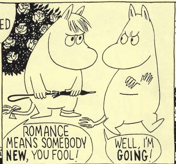 Moomintroll and the Snork Maiden, from a 1958 Moomin comic strip by Tove and Lars Jansson.
