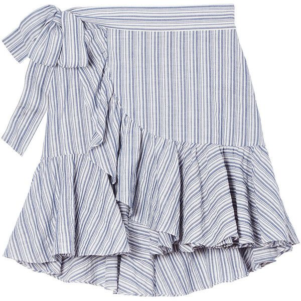 Yarn-Dyed Striped Skirt ($275) ❤ liked on Polyvore featuring skirts, flounce skirt, ruffled skirts, striped wrap skirt, flouncy skirt and stripe skirts
