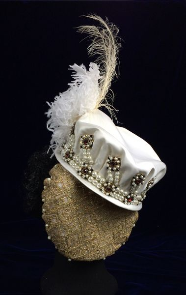 Hat by Truly Carmichael, part of the 1570s Spanish court dress ensemble in the style of Infanta Isabella Clara Eugenia.