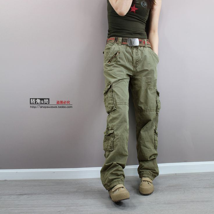 Free shipping New 2014 Fashion plus size Green camouflage cargo pants women army fatigue pants loose jeans baggy sport pants £32.65